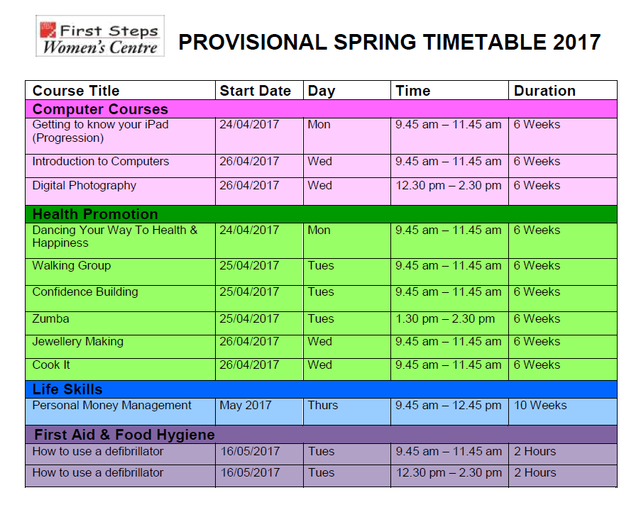 Spring Timetable